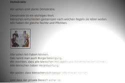 Was ist Demokratie? Leichte Sprache auf der Website der Grünen-Fraktion. Screenshot: L-IZ