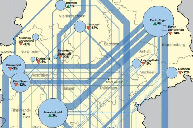 Ausschnitt aus der Karte mit den Mini-Verbindungen in Leipzig und Dresden. Karte: Nationalatlas, IfL