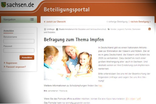 Die Umfrage des SMS zum Impfen in Sachsen. Screenshot: L-IZ