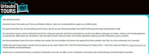 Urlaubstours.de wickelt noch alle bereits gebuchten Reisen ab, bietet aber selbst keine mehr an. Foto: Screenshot urlaubstours.de / 22. Juli 2016