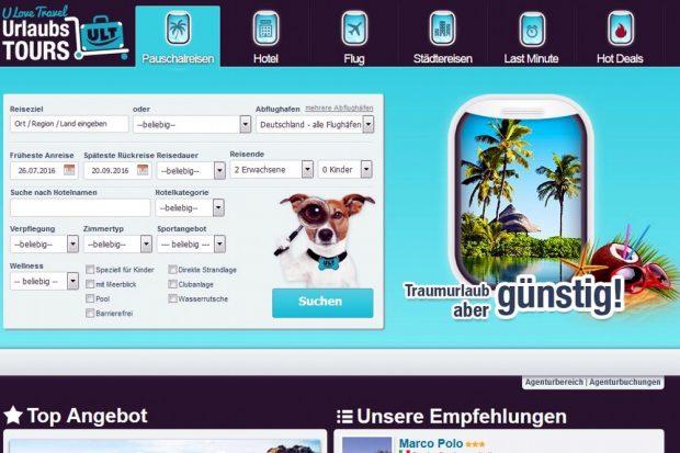 Urlaubstours.de im Netz. Screen von Urlaubstours.de