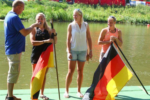 Überraschungsgäste: Drei Olympiasiegerinnen aus dem Doppelvierer von Rio: Lisa Schmidla, Julia Lier, Annekatrin Thiele (v.l.). Foto: Jan Kaefer