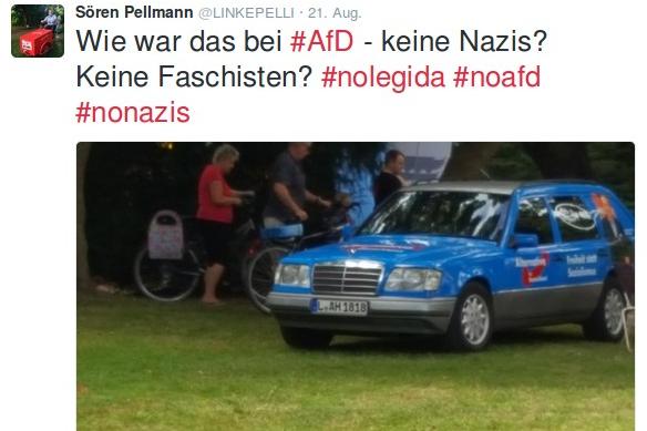 Linke-Fraktionschef Sören Pellmann bemerkte das AfD-Auto. Screenshot: L-IZ.de