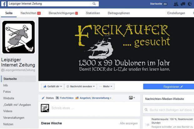 """Derzeit ein Ort im Netz, wo viele Debatten zur Aktion """"Freikäufer"""" laufen. Die Facebookseite der L-IZ.de. Screen: Facebook"""