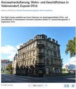 Angebot des Liegenschaftsamtes: 300.000 Euro für die Hermann-Liebmann-Straße 43. Screenshot: L-IZ