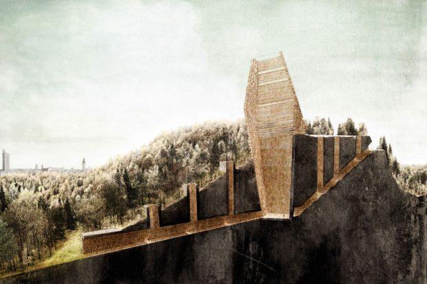 """Entwurf """"Vom Trümmerberg zum Denkmal"""" von Paul Jäger und Elisabeth Pabst. Foto: P. Jäger, E. Pabst/HTWK Leipzig"""
