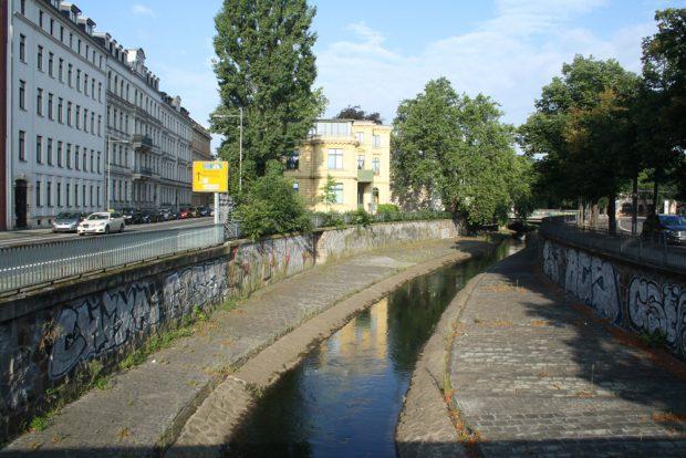 Die Parthe an der Uferstraße. Foto: Ralf Julke