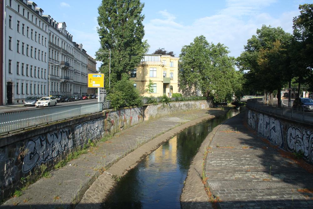 Beispiel für einen kanalisierten, naturfernen Fluss: die Parthe. Foto: Ralf Julke