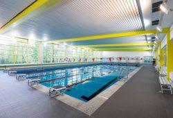Die Schwimmhalle Mitte in der Kirschbergstraße stammt aus dem Jahr 1968, sie ist ein sogenannter Typenbau, Typ Anklam. Foto: Leipziger Sportbäder