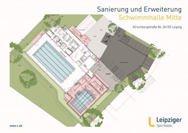 Die Schwimmhalle Mitte in der Kirschbergstraße: Für rund 5,7 Millionen Euro soll sie saniert und um ein Flachwasserbecken (unten) erweitert werden. Foto: Leipziger Sportbäder