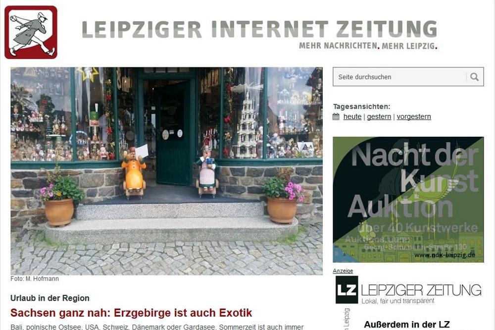 Die Leipziger Internet Zeitung. Screen: L-IZ.de