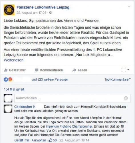 Jede Menge Zuspruch bei einigen Lokfans. Bild: Screenshot auf FB von der Fanszene Lokomotive