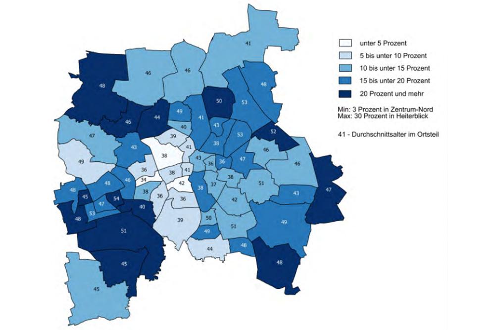 Adipositas und Durchschnittsalter in Leipziger Ortsteilen. Grafik: Stadt Leipzig, Bürgerumfrage 2015