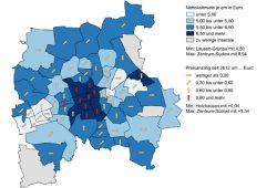 Entwicklung der Angebotsmieten in Leipziger Ortsteilen. Grafik: Stadt Leipzig / Quartalsbericht II/ 2016
