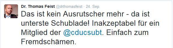 Dr. Thomas Feist auf Twitter. Screen twitter.com/drthomasfeist