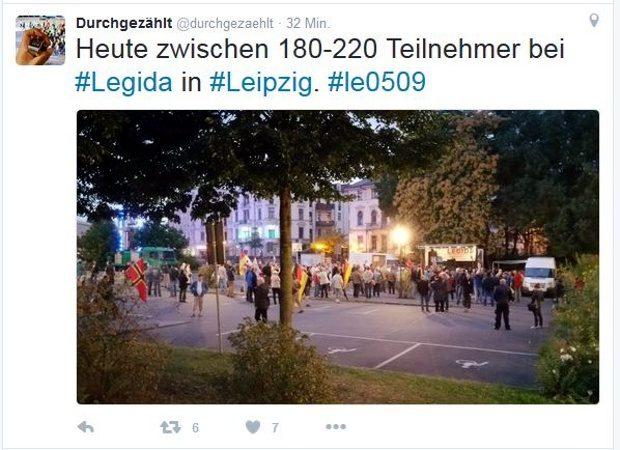 """Ein erneuter Tiefschlag bei Legida. 180 bis 220 Teilnehmer hat die Initiative """"Durchgezählt"""" ermittelt. Screenshot: Durchgezählt twitter.com/durchgezaehlt"""