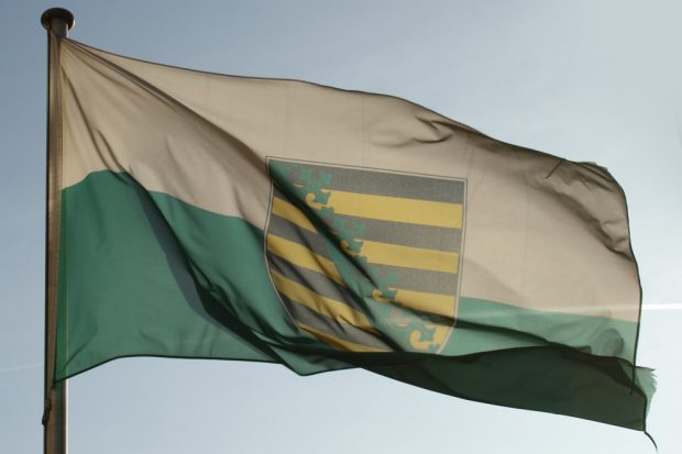 Muntere Flagge für starkes Sachsen. Foto: Ralf Julke