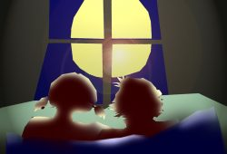 Herr L., seine Mascha und der Mond. Grafik: L-IZ