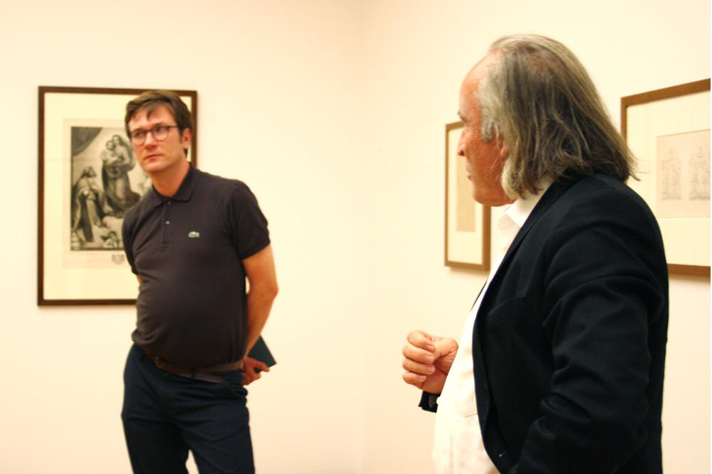 Marcus Andrew Hurttig und Hans-Werner Schmidt in der Von-Zahn-Kabinettausstellung. Foto: Ralf Julke