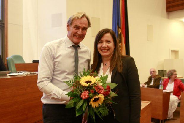Iris Wolke-Haupt bei ihrer Neubestellung als LWB-Geschäftsführerin. Foto: Alexander Böhm