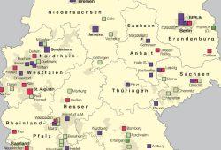 Kinderrheumatische Versorgungseinrichtungen. Karte: IfL Leipzig, Nationalatlas