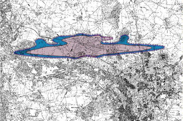 Aktueller Lärmschutzbereich Nacht am Flughafen Leipzig /Halle. Karte: Freistaat Sachsen