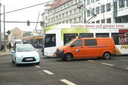 Unfallkreuzung Lützowstraße / Georg-Schumann-Straße. Foto: Ralf Julke