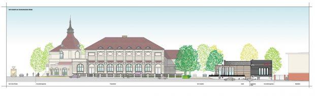 Die Ostansicht auf den Bauplan von der Zschocherschen Straße. Unterlagen von S&G Development GmbH