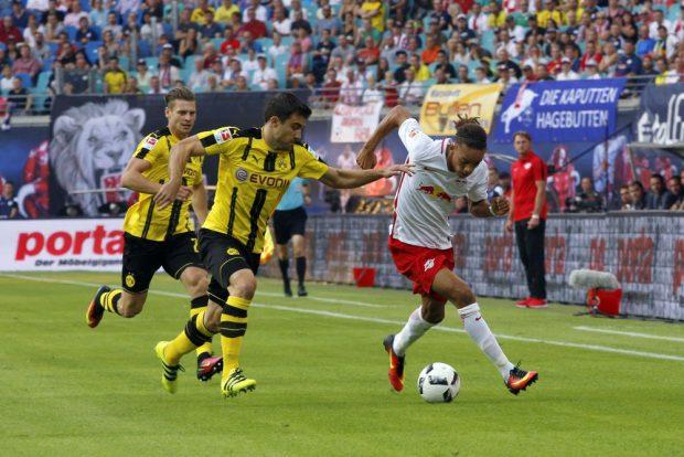 Yussuf Poulsen schnellt in der ersten Halbzeit immer durch die gegnerische Abwehr. Foto: Alexander Böhm