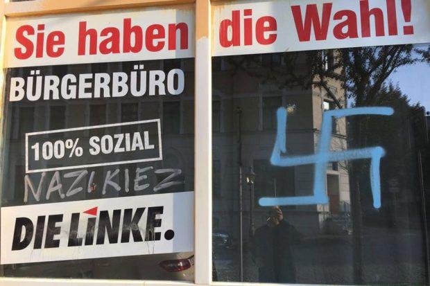 Anschlag auf das Chemnitzer Büro der linken Landtagsabgeordneten Susanne Schaper 2016. Foto: Die Linke Sachsen