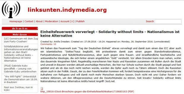 """Der Beitrag ist noch übers Google-Archiv auffindbar. Was jedoch am Zweifel über seine Echtheit wenig ändert. Den Namen """"Antifa Dresden"""" kann man frei wählen. Screen: Indymedia Archiv"""
