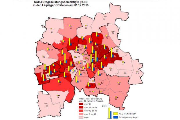 SGB-II-Quoten auf Ortsteilebene. Grafik: Stadt Leipzig, Quartalsbericht II / 2016