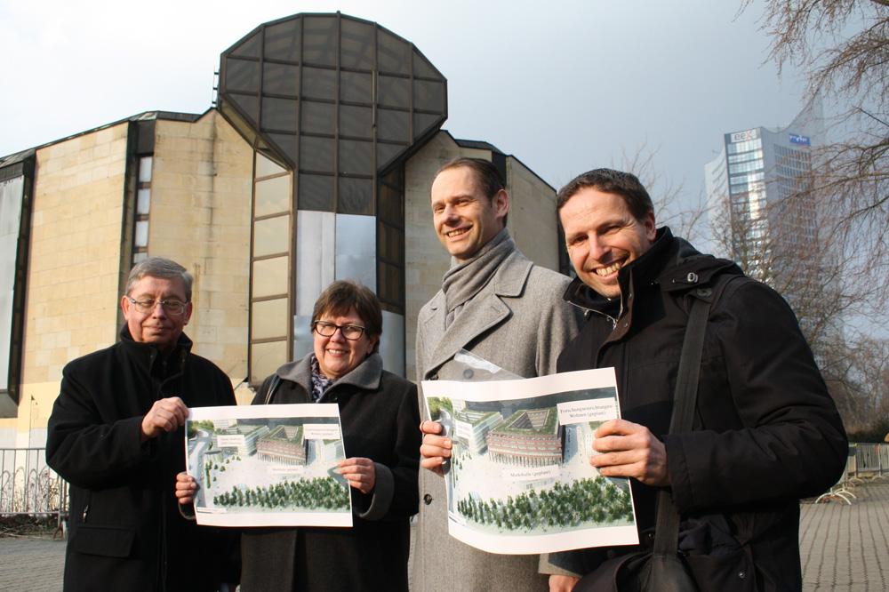 SPD-Aktion für den Neubau am Rossmarkt im März. Foto: Ralf Julke