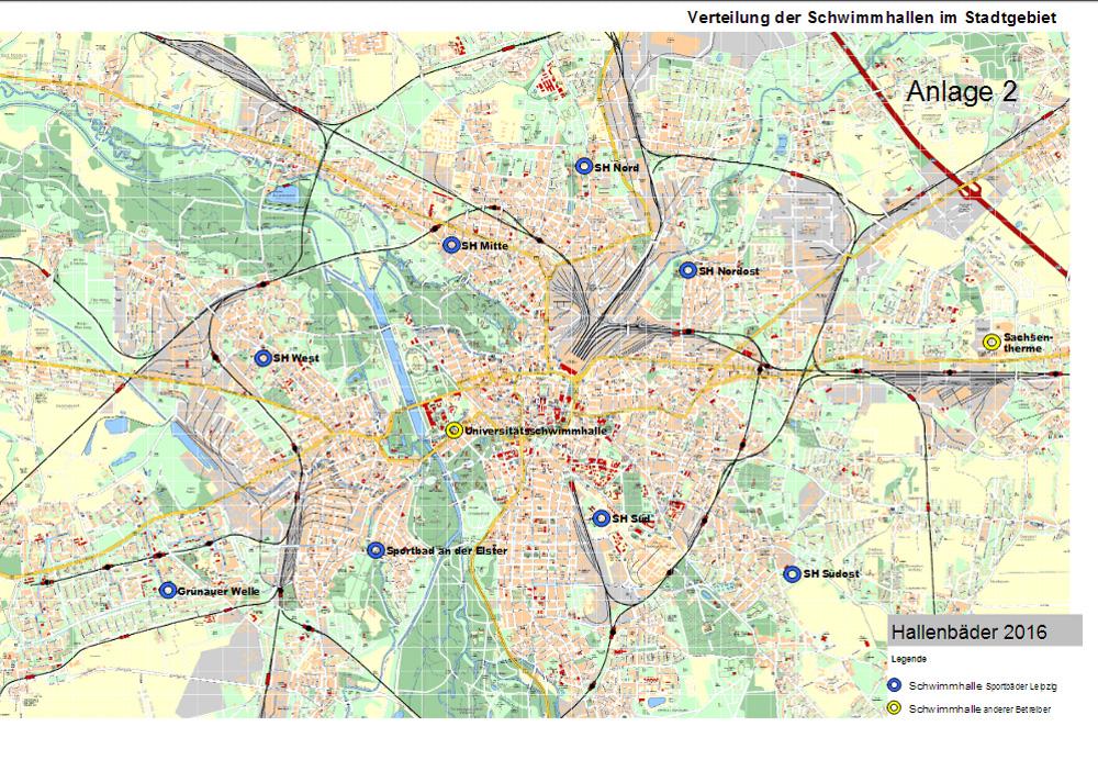 Die heutige Verteilung der Schwimmhallen im Stadtgebiet. Karte: Stadt Leipzig