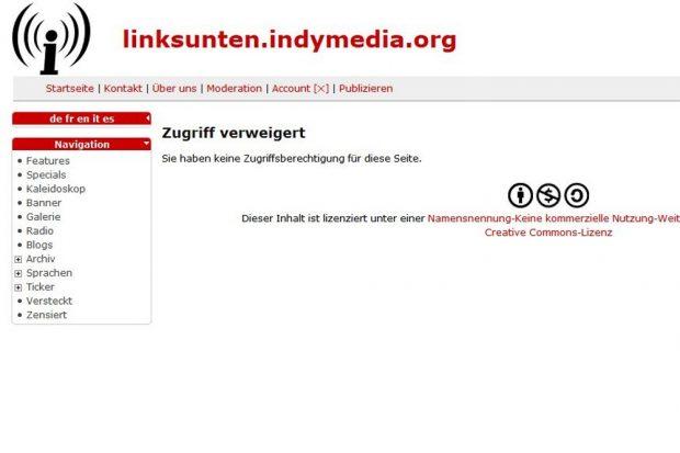 """Das """"Bekenntnis"""" auf Indymedia zum Sprengstoffanschlag in Dresden ist gelöscht. Foto: Screen Indymedia"""