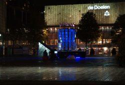 Strahlende Werbung für die Musikstadt - hier die Lichtprobe vom 19.10. auf dem Schouwbourgplein. Foto: LTM GmbH