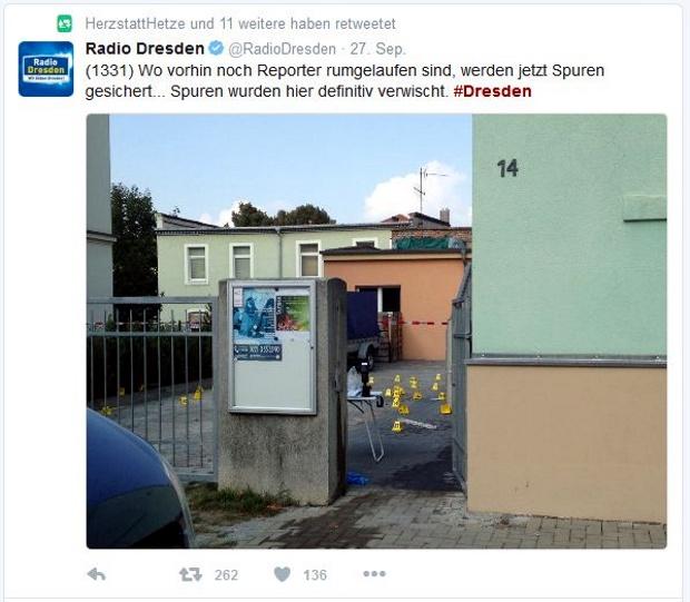 Radio Dresden wundert sich öffentlich über das Verhalten der Polizei. Screen twitter.com/RadioDresden