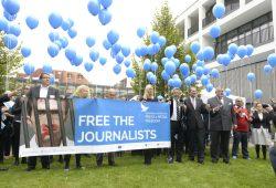 Solidaritätsaktion des ECPMF. Foto: Medienstiftung, Anna Lena Kreft