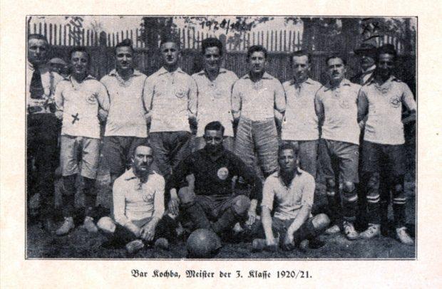 Die Fußballer von Bar Kochba, 1920/21. Quelle: SML Pauckerts S. 254 / Tüpfelhausen e.V.