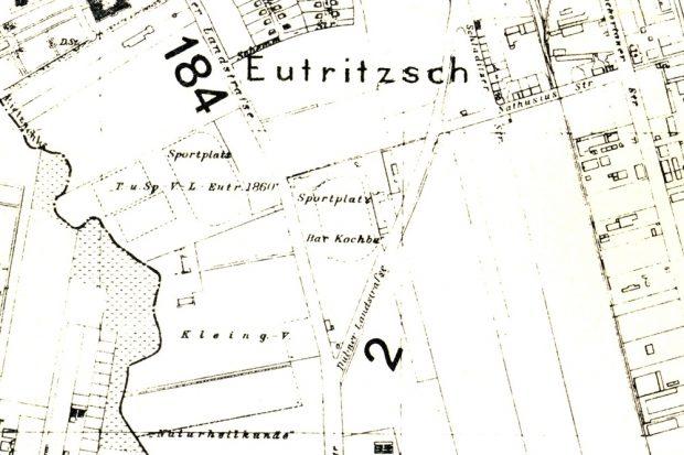 1937. Der Flurplan der Stadt Leipzig zeigt noch den Sportplatz Bar Kochbas an der Delitzscher Straße. Quelle: d10853 Ausschnitt / Tüpfelhausen e.V.