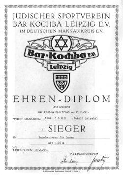 Eines der wenigen Zeitdokumente von Bar Kochba. Ein Ehren-Diplom von 1938 von einem Sportfest von Bar Kochba. Quelle: SML Kopie v. orig. Cohn