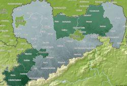 Breitbandausstattung mit 30 Mbit/s in Sachsen. Hellgrün: 75 - 95 %. Karte: Freistaat Sachsen, Breitbandatlas