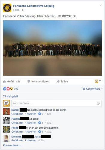 """Nach dem Sieg eine etwas zweideutige Kraftmeierei bei der """"Fanszene Lokomotive"""". Screen Facebook, Fanszene"""
