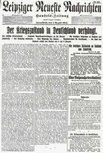 """Im I. Weltkrieg zogen viele Juden auf deutscher Seite in den Krieg. Foto: Repro der """"Neuesten Leipziger Nachrichten"""" zum Kriegsbeginn 1914, Stadtarchiv Leipzig"""