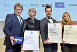 Die Preisträger 2016, v.l.n.r. Gewandhaus, NEL Neontechnik. Myonso, LWB Leipziger Wohnungs- und Baugesellschaft. Foto: Marketing-Club Leipzig e.V.