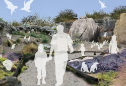 Erste Skizze für das künftige Feuerland mit den Pinguinen. Grafik: Zoo Leipzig