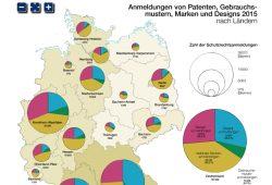 Patentanmeldungen 2015 nach Bundesländern. Grafik: Nationalatlas, IfL
