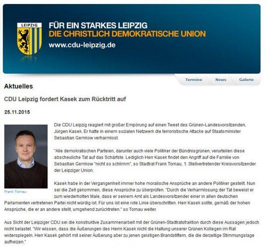 Nach dem Entsetzen über die vermeintlich linksextreme Straftat folgte das politische Scharmützel. Derzeit herrscht Stille bei der CDU. Screen CDU-Fraktion Leipzig