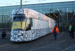 Die neue Solaris-Straßenbahn für Leipzig. Foto: Ralf Julke