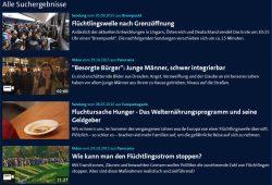 Die ARD als Frame-Schleuder: Flüchtlingswelle als Suchbegriff. Screenshot: L-IZ